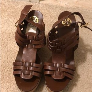 Tory Burch Brown with cork platform wedges